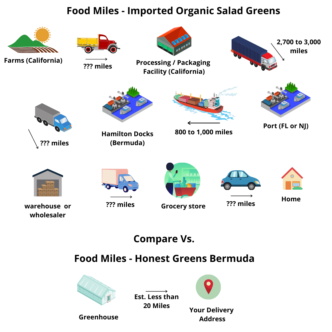 food miles comparison - imported organic salad greens vs. honest greens bermuda